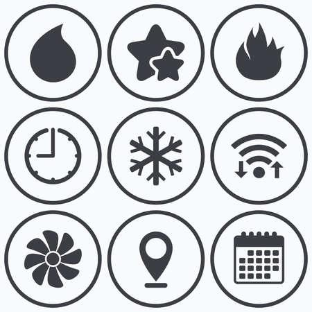 Clock, Wi-Fi Und Sterne Symbole. HVAC-Symbole. Heizung, Lüftung Und ...