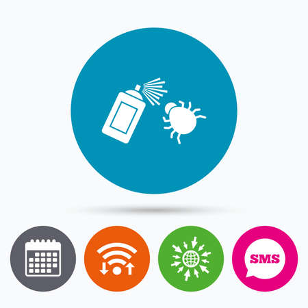 fumigation: Wifi, Sms and calendar icons. Bug disinfection sign icon. Fumigation symbol. Bug sprayer. Go to web globe.