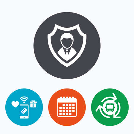 security symbol: Security agency sign icon. Shield protection symbol. Mobile payments, calendar and wifi icons. Bus shuttle.