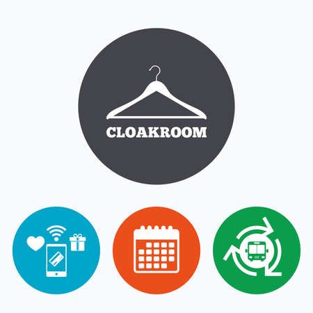 cloakroom: Cloakroom sign icon. Hanger wardrobe symbol. Mobile payments, calendar and wifi icons. Bus shuttle. Illustration