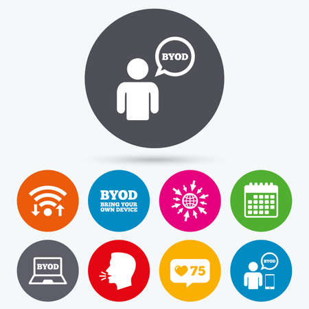 own: Wifi, like counter and calendar icons. BYOD icons. Human with notebook and smartphone signs. Speech bubble symbol. Human talk, go to web.