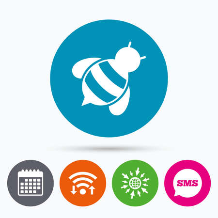 apis: Wifi, Sms and calendar icons. Bee sign icon. Honeybee or apis with wings symbol. Flying insect diagonal. Go to web globe.