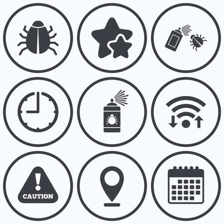 Clock, wifi and stars icons. Bug disinfection icons. Caution attention symbol. Insect fumigation spray sign. Calendar symbol. Illustration