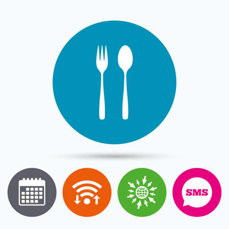 teaspoon: Wifi, Sms and calendar icons. Eat sign icon. Cutlery symbol. Dessert fork and teaspoon. Go to web globe.