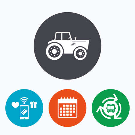 tractor sign: Tractor sign icon. Agricultural industry symbol. Mobile payments, calendar and wifi icons. Bus shuttle.