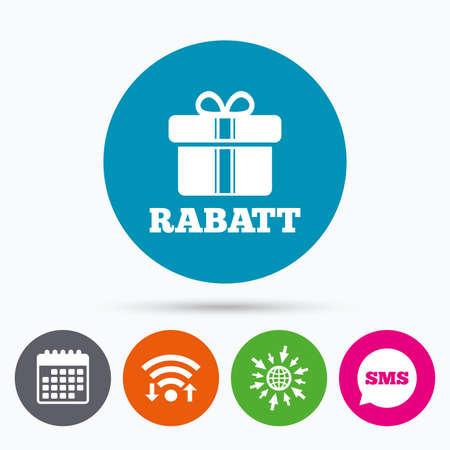 Wireless-LAN, Sms und Kalenderikonen. Rabatt - Rabatte auf Deutsch Zeichen-Symbol. Geschenk-Box mit Bändern Symbol. Zum Web-Welt. Standard-Bild - 56305482