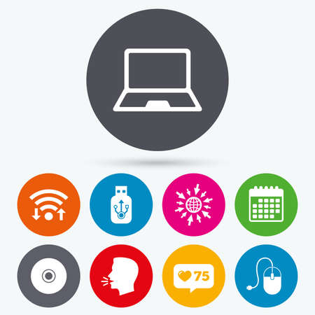 optical disk: Wifi, like counter and calendar icons. Notebook pc and Usb flash drive stick icons. Computer mouse and CD or DVD sign symbols. Human talk, go to web. Illustration