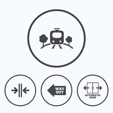 way out: Train railway icon. Overground transport. Automatic door symbol. Way out arrow sign. Icons in circles. Illustration