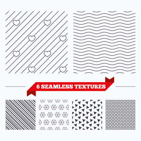 abstract waves background: Diagonal lines, waves and geometry design. Hearts lines texture. Stripped geometric seamless pattern. Modern repeating stylish texture. Material patterns. Illustration