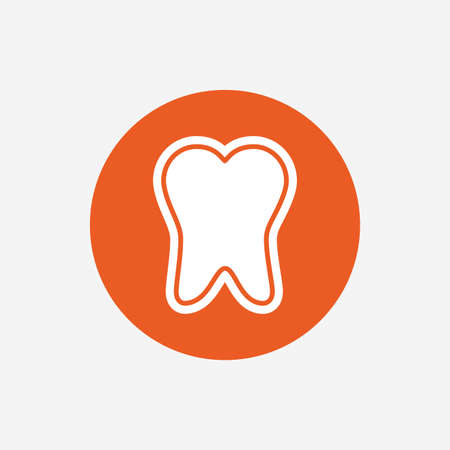 enamel: Tooth enamel protection sign icon. Dental toothpaste care symbol. Healthy teeth. Orange circle button with icon. Vector Illustration