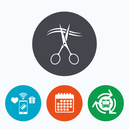 barbershop: Scissors cut hair sign icon. Hairdresser or barbershop symbol. Mobile payments, calendar and wifi icons. Bus shuttle. Illustration