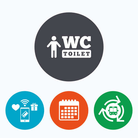lavatory: WC men toilet sign icon. Restroom or lavatory symbol. Mobile payments, calendar and wifi icons. Bus shuttle.