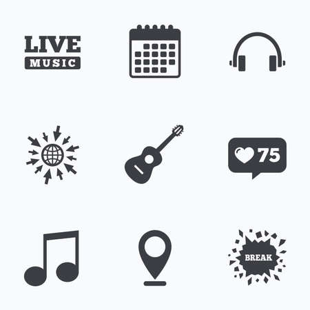 headset voice: Calendar, like counter and go to web icons. Musical elements icons. Musical note key and Live music symbols. Headphones and acoustic guitar signs. Location pointer. Illustration