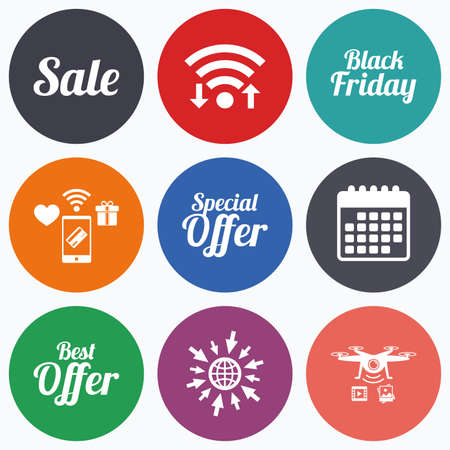 sale icons: Wifi, mobile payments and drones icons. Sale icons. Best special offer symbols. Black friday sign. Calendar symbol.