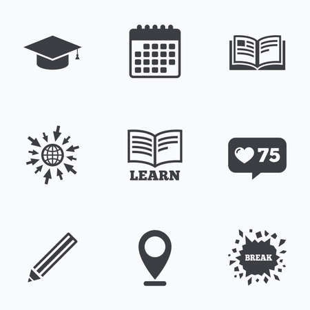 higher education: Calendar, like counter and go to web icons. Pencil and open book icons. Graduation cap symbol. Higher education learn signs. Location pointer. Illustration