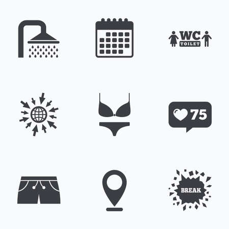 short break: Calendar, like counter and go to web icons. Swimming pool icons. Shower water drops and swimwear symbols. WC Toilet sign. Trunks and women underwear. Location pointer.