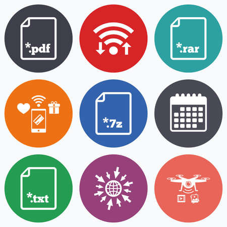 rar: Wifi, mobile payments and drones icons. Download document icons. File extensions symbols. PDF, RAR, 7z and TXT signs. Calendar symbol.
