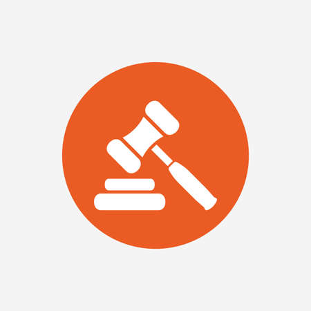Auction hammer icon. Law judge gavel symbol. Orange circle button with icon. Vector