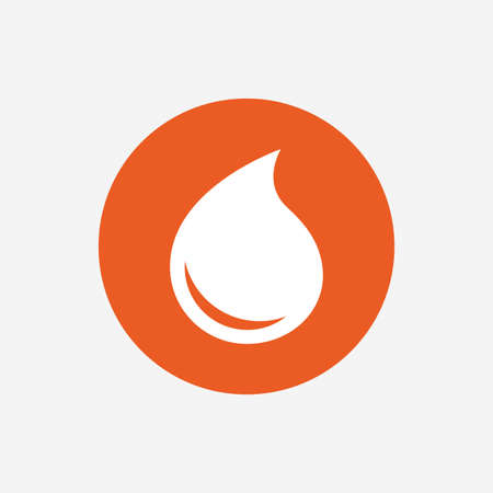 tear drop: Water drop sign icon. Tear symbol. Orange circle button with icon. Vector