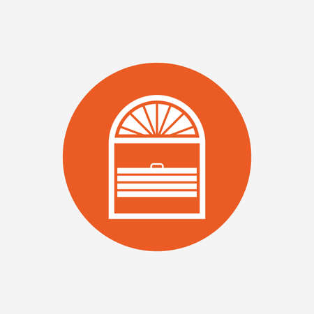jalousie: Louvers plisse sign icon. Window blinds or jalousie symbol. Orange circle button with icon. Vector Illustration