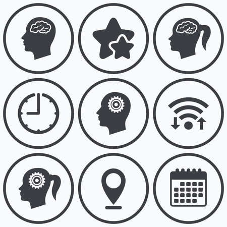 female symbol: Clock, wifi and stars icons. Head with brain icon. Male and female human think symbols. Cogwheel gears signs. Woman with pigtail. Calendar symbol. Illustration