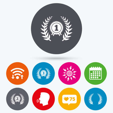 second prize: Wifi, like counter and calendar icons. Laurel wreath award icons. Prize for winner signs. First, second and third place medals symbols. Human talk, go to web. Illustration