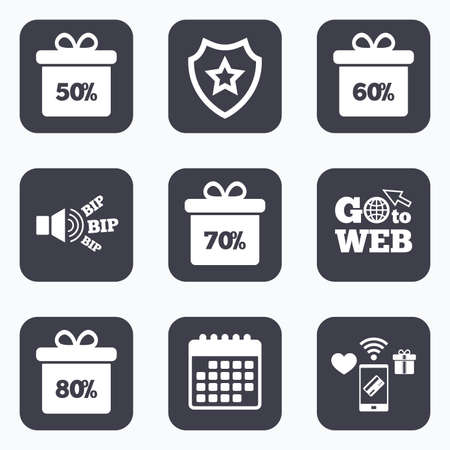 50 to 60: Mobile payments, wifi and calendar icons. Sale gift box tag icons. Discount special offer symbols. 50%, 60%, 70% and 80% percent discount signs. Go to web symbol.