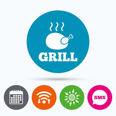 chicken grill: Wifi, Sms and calendar icons. Roast chicken grill sign icon. Hen bird meat symbol. Go to web globe.