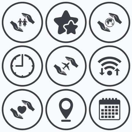 best shelter: Clock, wifi and stars icons. Hands insurance icons. Human life insurance symbols. Heart health sign. Travel flight symbol. Save world planet. Calendar symbol.