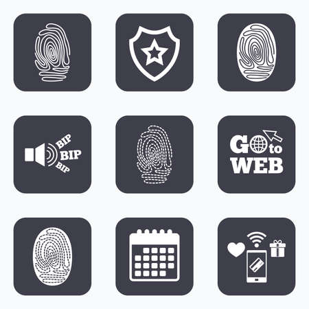 dabs: Mobile payments, wifi and calendar icons. Fingerprint icons. Identification or authentication symbols. Biometric human dabs signs. Go to web symbol.