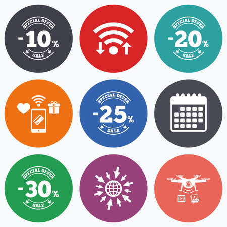 20 to 25: Wifi, mobile payments and drones icons. Sale discount icons. Special offer stamp price signs. 10, 20, 25 and 30 percent off reduction symbols. Calendar symbol.