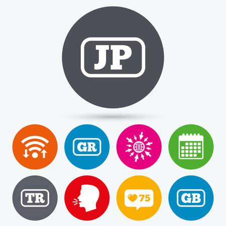 tr: Wifi, like counter and calendar icons. Language icons. JP, TR, GR and GB translation symbols. Japan, Turkey, Greece and England languages. Human talk, go to web.
