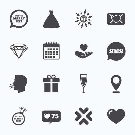 web engagement: Calendar, go to web and like counter. Wedding, engagement icons. Love oath letter, gift box and brilliant signs. Dress, heart and champagne glass symbols. Sms speech bubble, talk symbols. Illustration