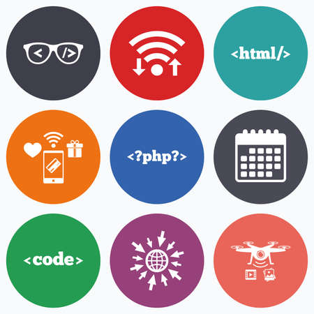 markup: Wifi, mobile payments and drones icons. Programmer coder glasses icon. HTML markup language and PHP programming language sign symbols. Calendar symbol.