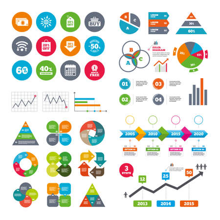 40 50: Wifi, calendar and web icons. Sale discounts icon. Shopping cart, buying and cash money signs. 40, 50 and 60 percent off. Special offer symbols. Diagram charts design.