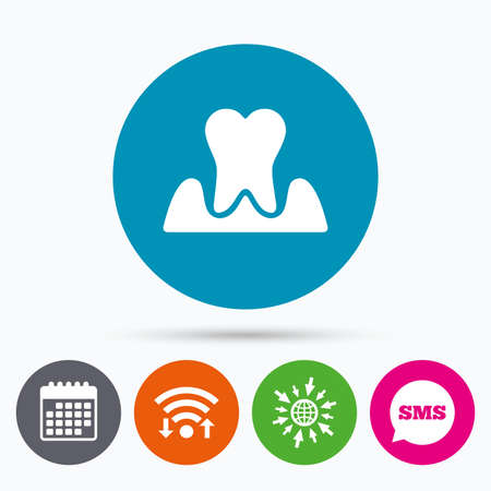 gingivitis: Wifi, Sms and calendar icons. Parodontosis tooth icon. Gingivitis sign. Inflammation of gums symbol. Go to web globe.