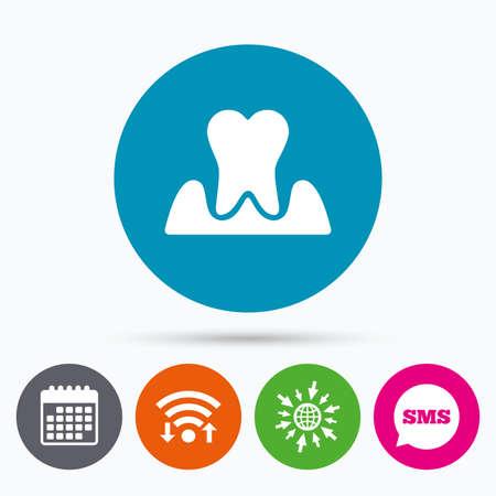 comunicacion oral: Wifi, SMS y calendario iconos. Icono de diente parodontosis. signo de la gingivitis. La inflamaci�n de las enc�as s�mbolo. Ir a la Web del globo.