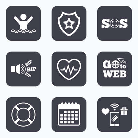 drowns: Mobile payments, wifi and calendar icons. SOS lifebuoy icon. Heartbeat cardiogram symbol. Swimming sign. Man drowns. Go to web symbol.