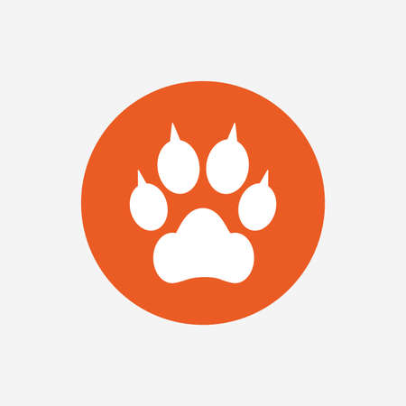 clutches: Dog paw with clutches sign icon. Pets symbol. Orange circle button with icon. Vector Illustration