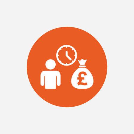 borrow: Bank loans sign icon. Get money fast symbol. Borrow money. Orange circle button with icon. Vector