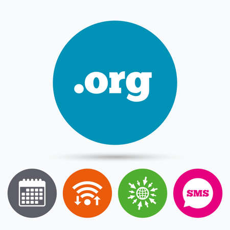 org: Wifi, Sms and calendar icons. Domain ORG sign icon. Top-level internet domain symbol. Go to web globe.