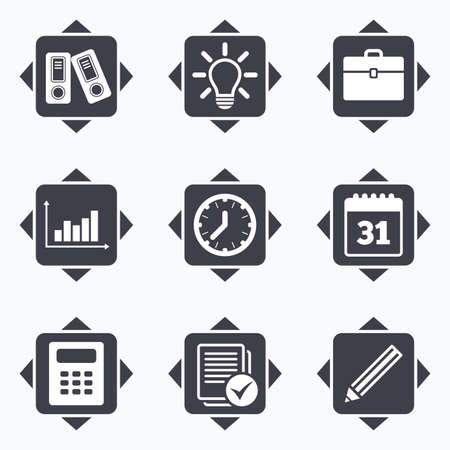 corner clock: Icons with direction arrows. Office, documents and business icons. Accounting, calculator and case signs. Ideas, calendar and statistics symbols. Square buttons.