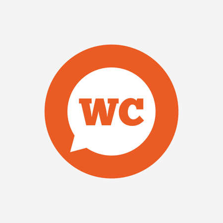lavatory: WC Toilet sign icon. Restroom or lavatory speech bubble symbol. Orange circle button with icon. Vector Illustration