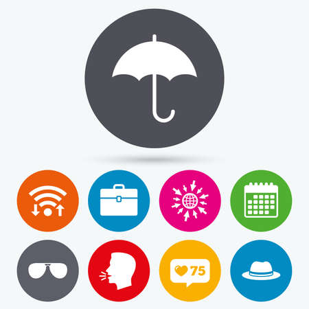 business case: Wifi, like counter and calendar icons. Clothing accessories icons. Umbrella and sunglasses signs. Headdress hat with business case symbols. Human talk, go to web.