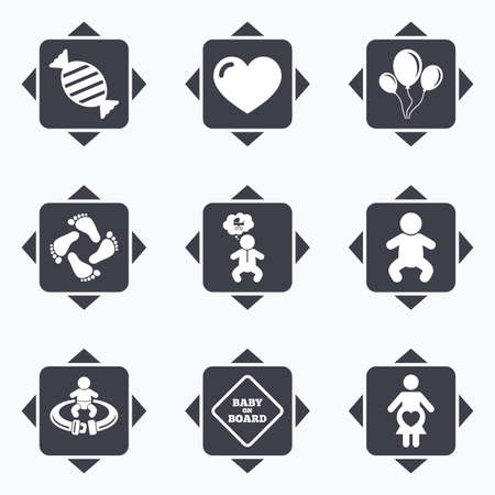 seat belt: Icons with direction arrows. Pregnancy, maternity and baby care icons. Candy, strollers and fasten seat belt signs. Footprint, love and balloon symbols. Square buttons. Illustration
