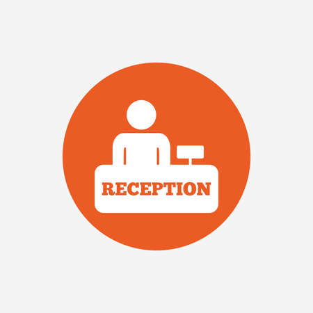 reception table: Reception sign icon. Hotel registration table with administrator symbol. Orange circle button with icon. Vector Illustration