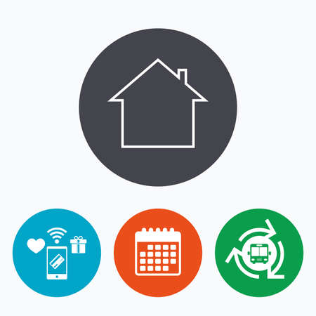 main: Home sign icon. Main page button. Navigation symbol. Mobile payments, calendar and wifi icons. Bus shuttle. Illustration