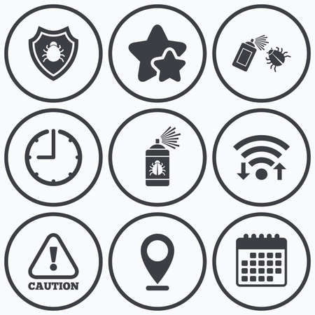 insanitary: Clock, wifi and stars icons. Bug disinfection icons. Caution attention and shield symbols. Insect fumigation spray sign. Calendar symbol.