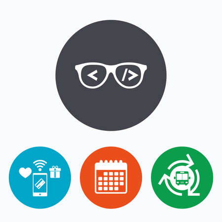 coder: Coder sign icon. Programmer symbol. Glasses icon. Mobile payments, calendar and wifi icons. Bus shuttle.