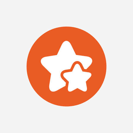 best rated: Star icon. Favorite sign. Best rated symbol. Orange circle button with icon. Vector